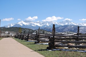 Mountains and Old Wood Fence