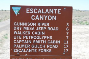Escalante Canyon Milage Sign
